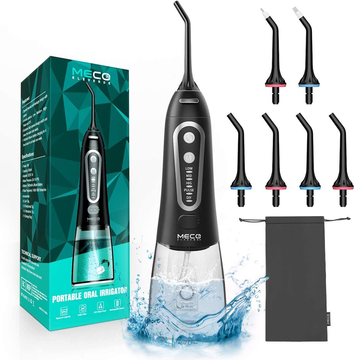 Water Flossers for Teeth, MECO Cordless Portable Water Pick Teeth Cleaner 300ML, 5 Modes and 6 Jet Tips, IPX8 Waterproof, USB Charged for 25-Days Use, Oral Irrigator for Travel, Home, Office