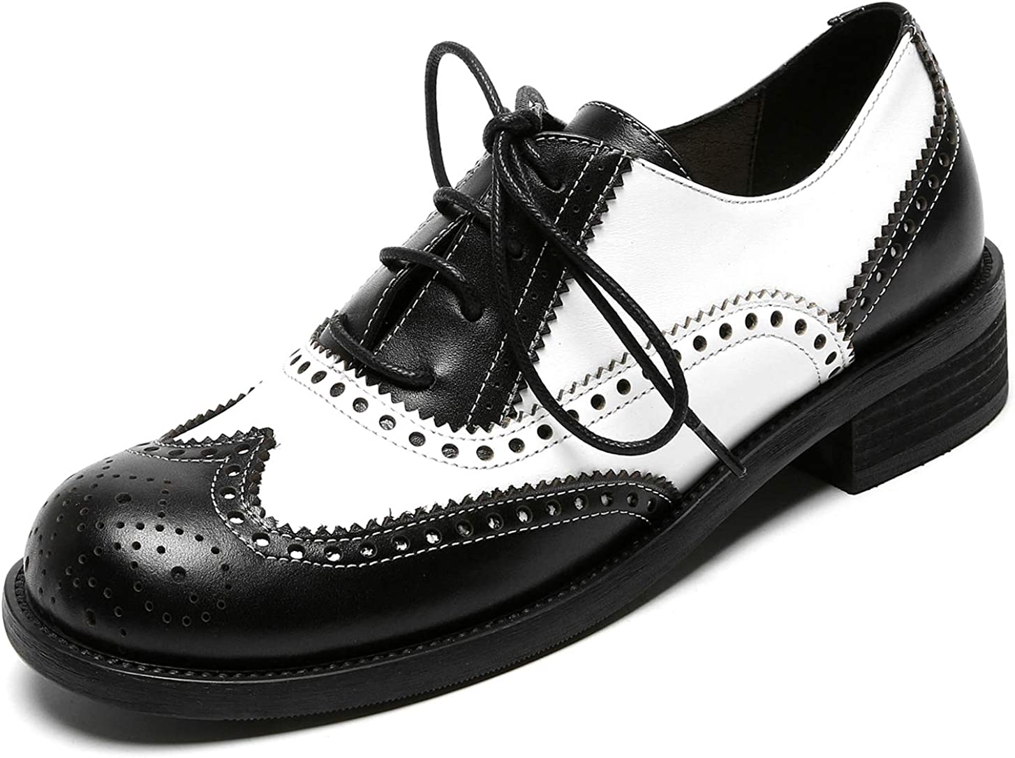 U-lite Women's Mid-Heel Perforated Lace-up Wingtip Close Front Leather Flat Oxfords Vintage Oxford Shoes