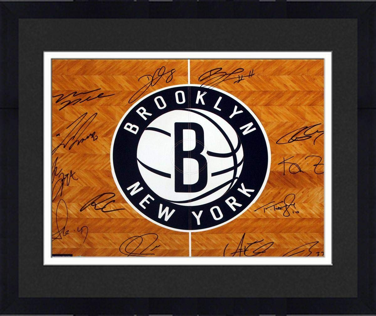 Framed Brooklyn Nets Team Signed B Logo Over Court Floor