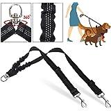 SlowTon Double Dog Leash, No Tangle Double Leash for Dogs Walking Training 360°Swivel Rotation Reflective Adjustable Length D