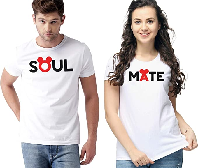 e6308b19be Innout Soul Mate Couple T Shirts (Male-S Female-S) White: Amazon.in ...