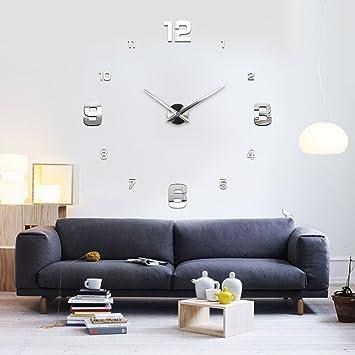XXL3D Riesige 3D Wanduhr Vinyl DIY Ø 130cm Große XXL Spiegel Uhr V
