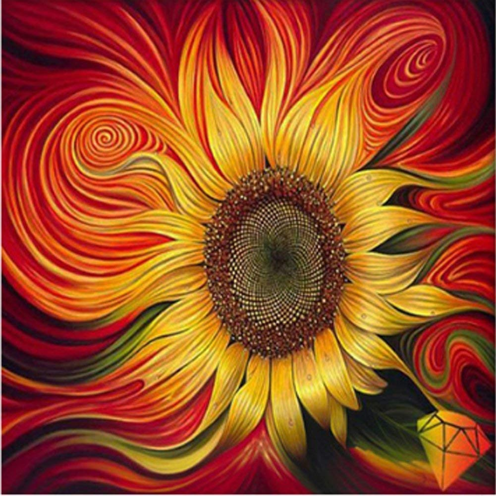 AURNEW Full drill diamond embroidery sun flowers painting with diamonds mosaic rhinestone picture needlework (3030cm)