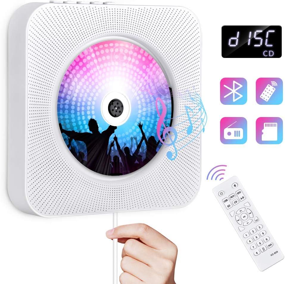 Gueray Portátil Bluetooth Reproductor de CD con Control Remoto Radio FM Altavoces de Alta fidelidad incorporados Conector de Auriculares Salida de Entrada USB/AUX incorporada (Blanco 01)