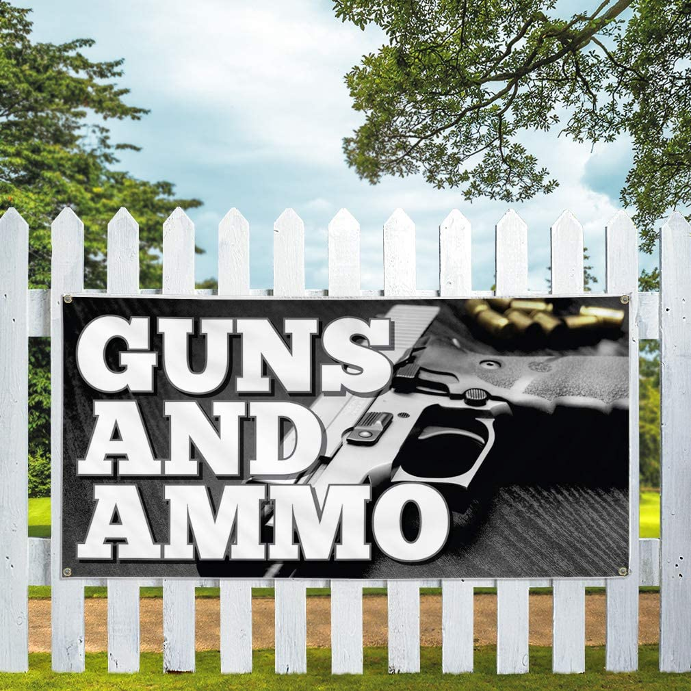 Vinyl Banner Multiple Sizes Guns and Ammo Business Industrial /& Craft Outdoor Weatherproof Industrial Yard Signs Black 10 Grommets 60x144Inches