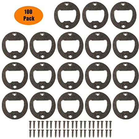 Bottle Opener Wall Mounted,100 Pack Stainless Steel and Iron Round Inset Bottle Opener Inset Kit Hardware Parts DIY kit with Screws