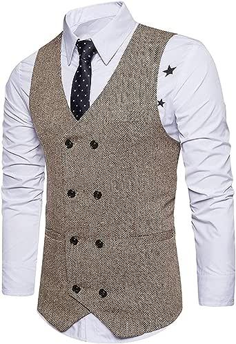 STTLZMC Chalecos de Trabajo Hombre V-Cuello Traje de Boda Negocios Slim Fit Tweed a Cuadros Blazer,Caqui,Large: Amazon.es: Ropa y accesorios