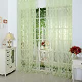 """Daxin Chic Room Leaf Pattern Voile Window Curtain Sheer Panel Drapes 39.4"""" x 78.8"""" Green"""