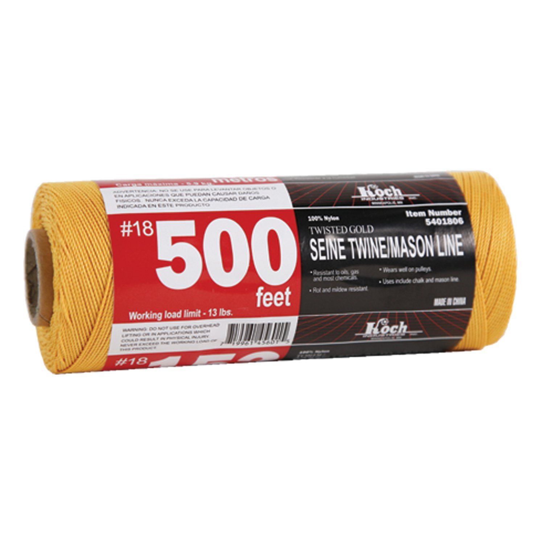 Yellow Koch Industries Twisted Mason Line 18 by 500 Feet Tube 5381806