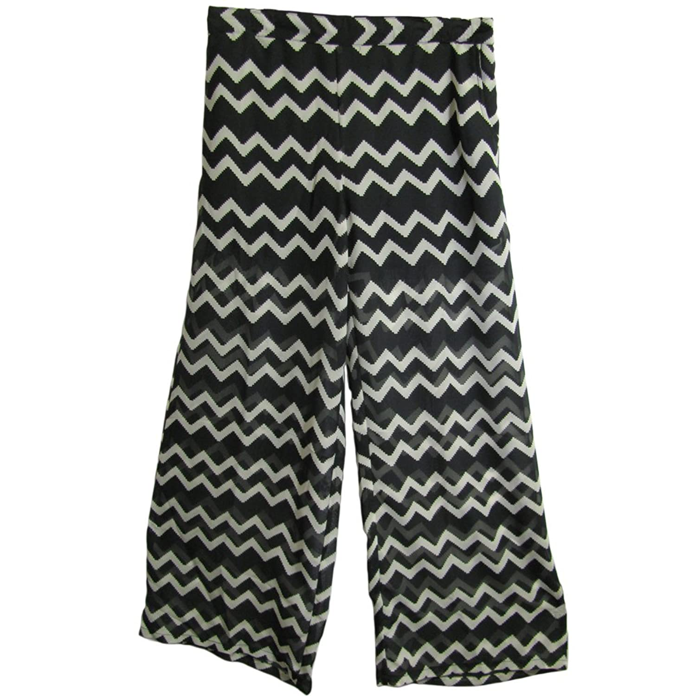 Missy Chiffon Wide Legs Abstract Print Black & White Palazzo Pants