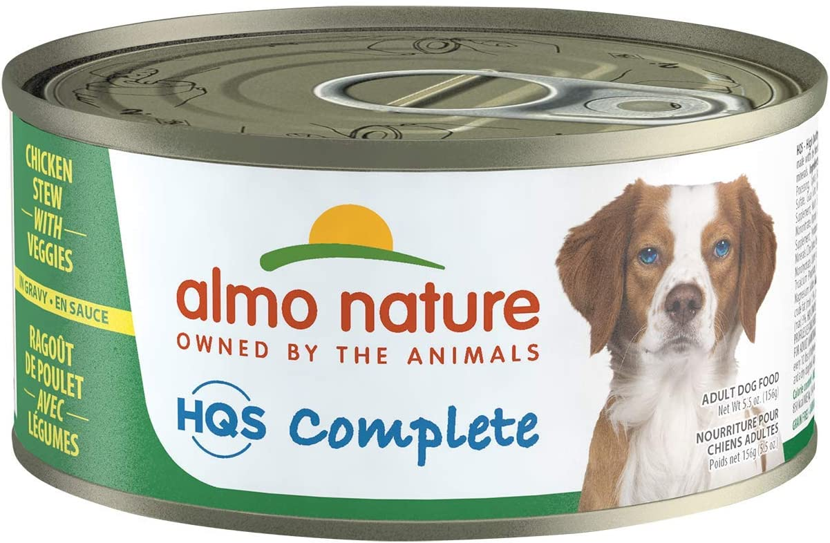 Almo Nature HQS Complete, Grain Free Natural, Wet Dog Food, Shredded Cuts Preserved in a Tasty gravy (Pack of 24 x 5.5 oz/156g cans)
