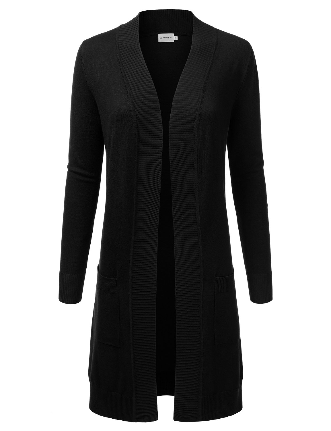 JJ Perfection Womens Light Weight Long Sleeve Open Front Long Cardigan Black M