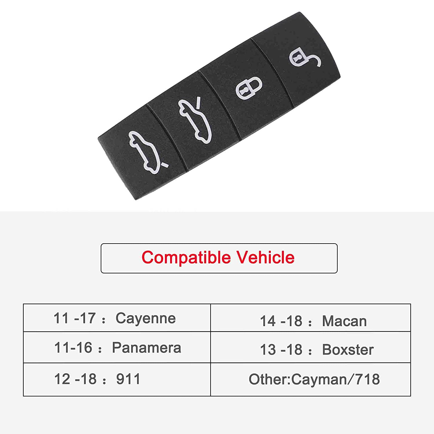 WINKA Remote Key Button Cover Compatible Key Fob Center Button Replacement Rubber Protectors Skin for Cayenne Macan Black