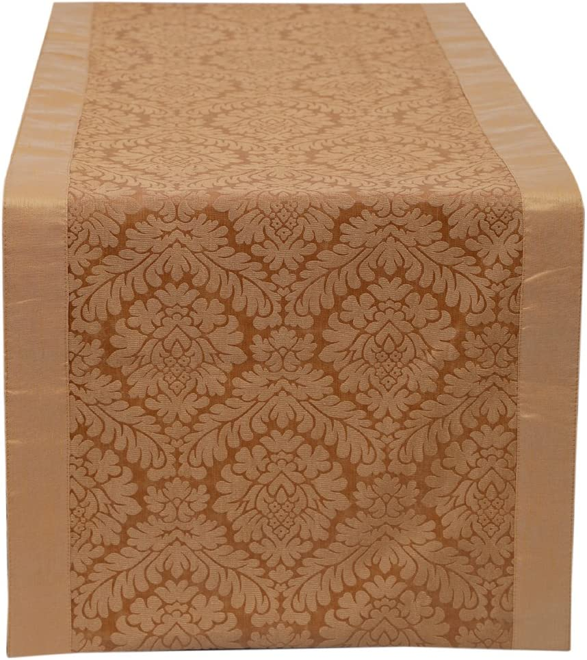 Side The White Petals Blue Table Runner Damask 14x36 inches Perfect for Small Table Round Table Corner /& Center Table