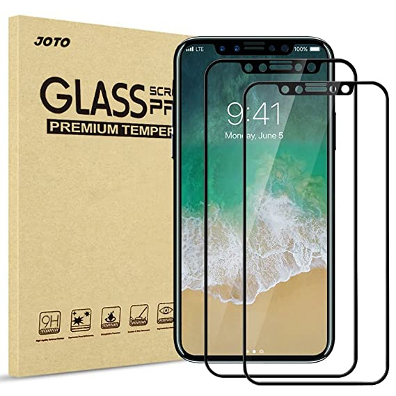 hot-selling clearance fashion design clear and distinctive iPhone XS/iPhone X Screen Protector, JOTO Full Screen Tempered Glass Screen  Protector Film, Edge to Edge Protection Screen Cover Saver Guard for Apple  ...