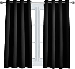 WONTEX Blackout Curtains Room Darkening Thermal Insulated with Grommet Window Curtain for Living Room, 52 x 63 inch, Black, 2 Panels