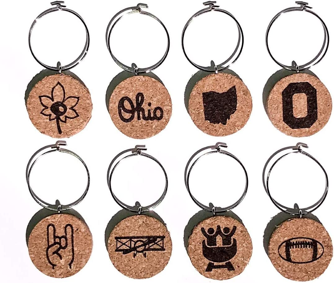 Ohio Wine Charms (20+ Unique Sets) Cork Wine Glass Charms - Set of 8 Ohio Charms, Ohio Themed Gifts/Souvenirs - Wine Accessories, Ohio Wine Lover Gifts, Wine Glass Tags, Drink Identifiers