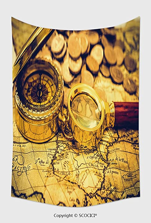 Amazon.com: Home Decor Tapestry Wall Hanging Compass And Magnifying ...