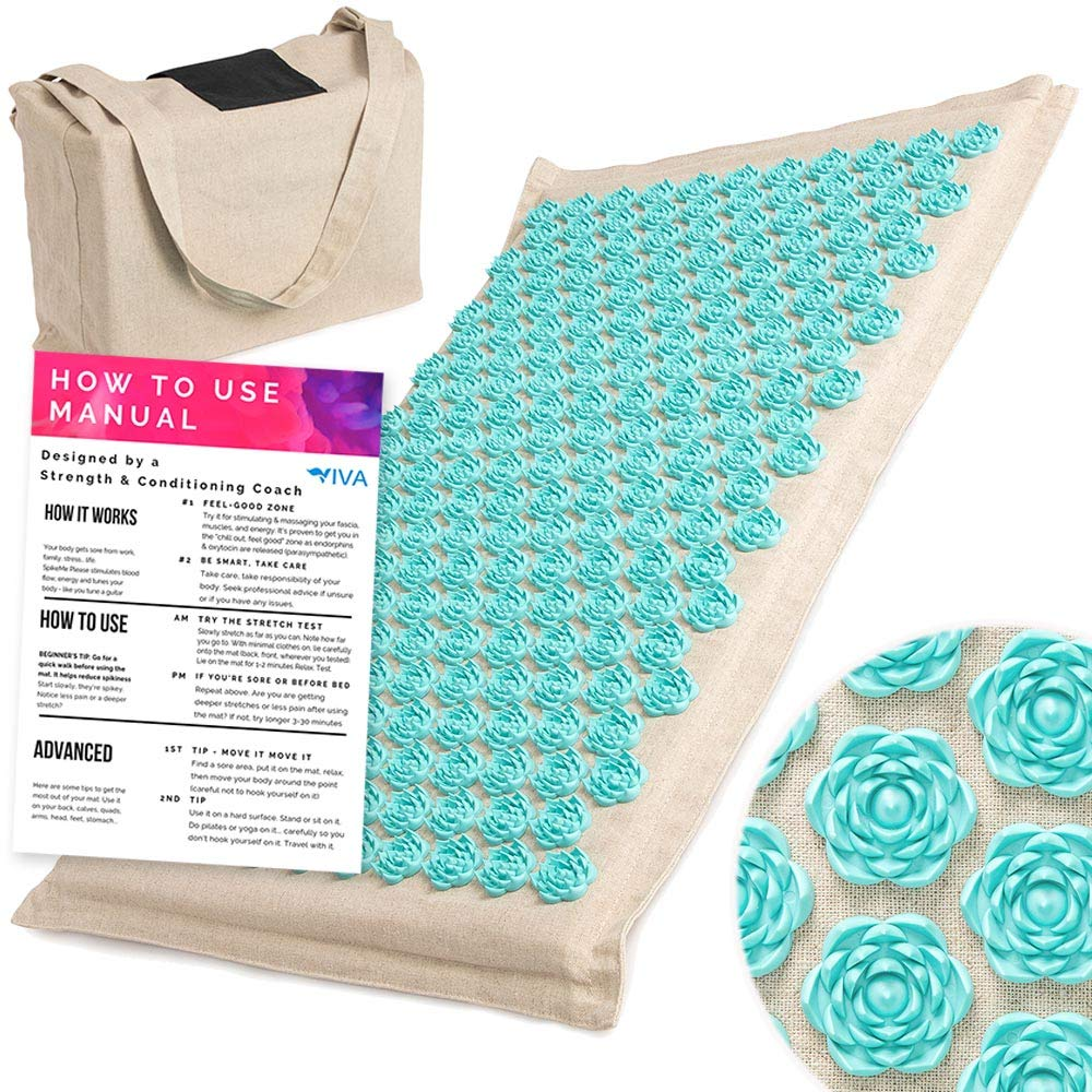 Acupressure Mat for Massage Organic Linen Cotton With Carry Bag | Back Pain Relief Neck Stress Sciatica Relief Trigger Point Relaxation Therapy Better Deeper Sleep by Viva Living Homes