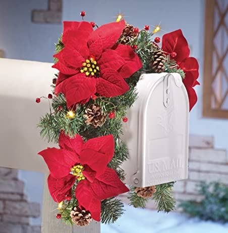 solar powered lighted red poinsettias pinecones and berries mailbox swag christmas holiday decoration - Solar Powered Christmas Wreath