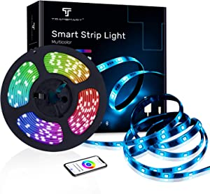 LED Smart Strip Lights Works with Alexa,Google Home Remote Controllde by Smart APP. 16.4ft WiFi+Bluetooth Fast Connection Music Sync Color Changing RGB LED Strip Light