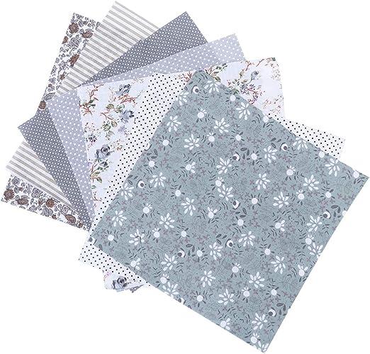 Artibetter - 7 piezas de tela de algodón para parches, cuadrados, costura, manualidades, tela floral, color verde, tela de algodón, gris, 7PCS: Amazon.es: Hogar