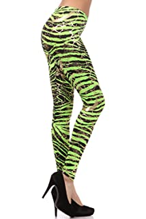 Neon Metallic Animal Zebra Print Leggings w/Gold Accents Pants