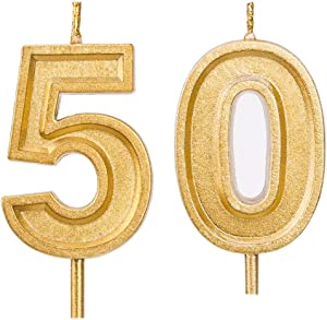 Qj-solar 2.76 in Gold Number 50 Birthday Candles,50th Cake Topper for Birthday Decorations