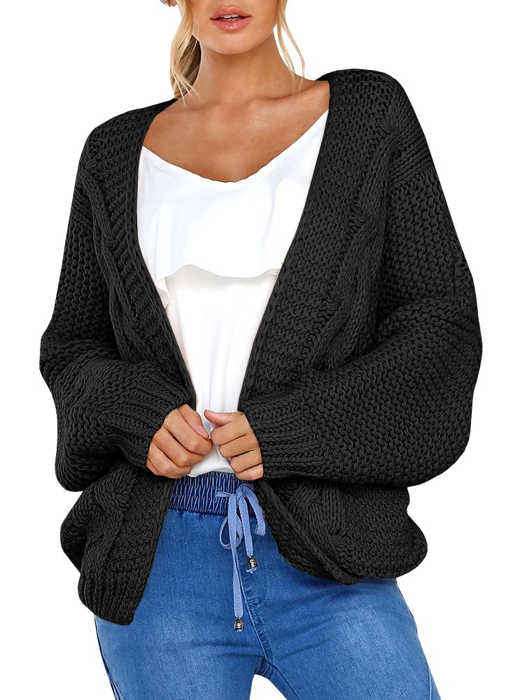 LAICIGO Womens Open Front Cable Knit Cardigan Batwing Sleeve Boyfriend Chunky Sweaters Outwear