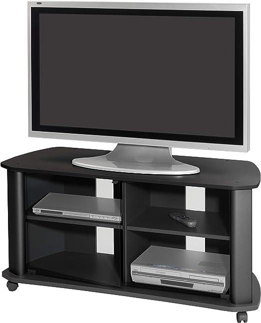Mueble televisión salón color negro puertas cristal comedor estilo ...