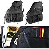 2x Roll Bar Storage Bag Cage for 2007~2017 Jeep Wrangler JK 4-door with Multi-Pockets & Organizers & Cargo Bag Saddlebag Tool Kits Holder