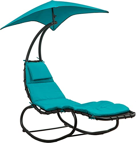 BELLEZE Outdoor Hanging Chaise Lounge Chair Swing Curved Cushion Seat Hammock