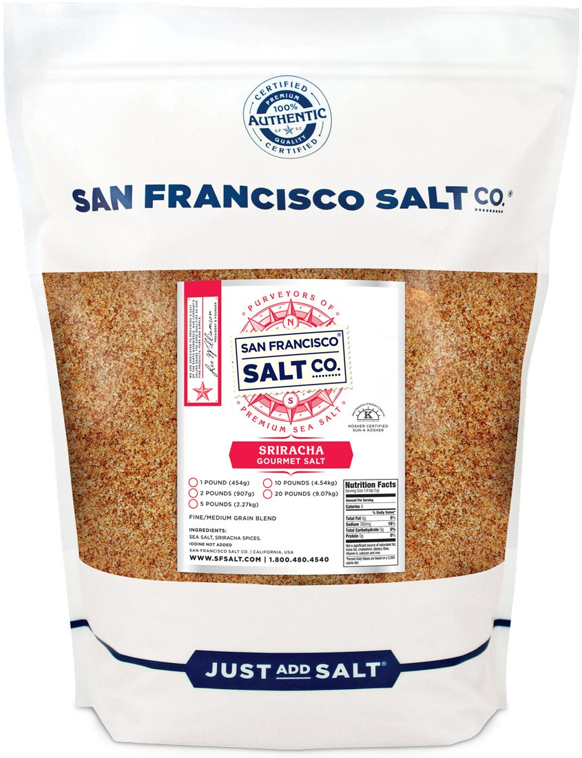 Sriracha Salt 5 lb. Bulk Bag - Fire Up Your Taste Buds, Spicy Sea Salt Blend with Hot Chimayo Pepper, Habanero Pepper & Garlic Powder