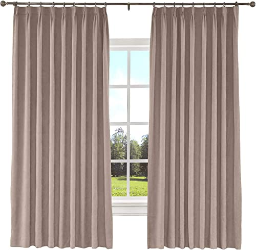TWOPAGES Extra Width Solid Blackout Curtain