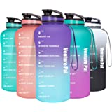 Venture Pal Half Gallon/64oz Motivational Water Bottle with Time Marker & Removable Strainer, Leakproof BPA Free Water Jug to