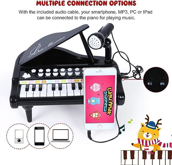 biggroup Teclado de juguete de piano para bebé, 24 teclas, instrumento musical educativo electrónico con micrófono, enlace de audio con móvil MP3 IPad ...