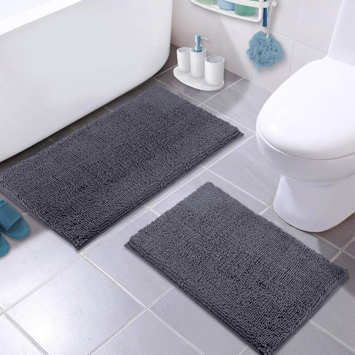 LuxUrux Bathroom Rug Set–Extra-Soft Plush Bath mat Shower Bathroom Rugs,1'' Chenille Microfiber Material, Super Absorbent (Rectangular Set, Dark Grey): Home & Kitchen