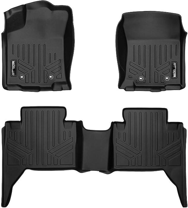 MAXLINER Custom Fit Floor Mats 2 Row Liner Set Black for 2018-2019 Toyota Tacoma Double Cab