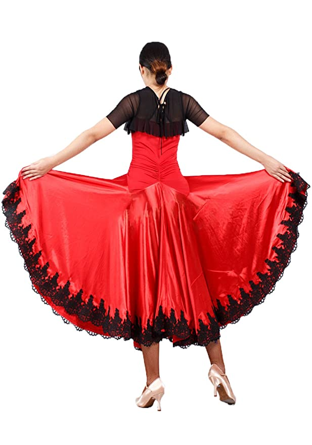 d434aa9f53c1 Amazon.com: JS CHOW Black Red Spanish Paso Doble Bullfighting Flamenco  Dance Dress Performance Costume: Clothing