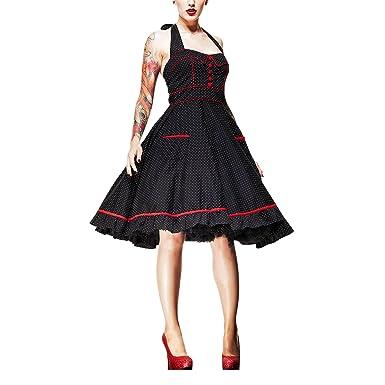 Hell Bunny - Vanity Rockabilly Polka Dot Kleid Dress schwarz/rot  (XS-XXXXL): Amazon.de: Bekleidung