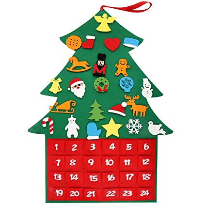 Zenoplige Felt Christmas Tree 3 1ft Diy Christmas Tree Fabric Advent Calendar With Pockets And 24pcs Ornaments For Kids Xmas Gifts New Year Door