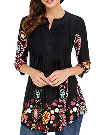 ca6c6b170b4 Sexyshine Women s Floral Print Round Neck Pleated Button 3 4 Long Sleeve  Blouse T-