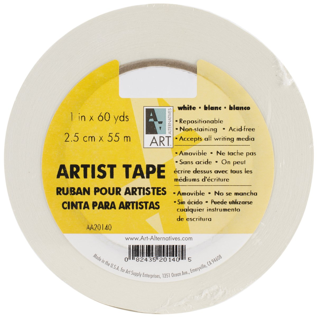Art Alternatives Economy White Artists Tape - 1 Inch X 60 Yards