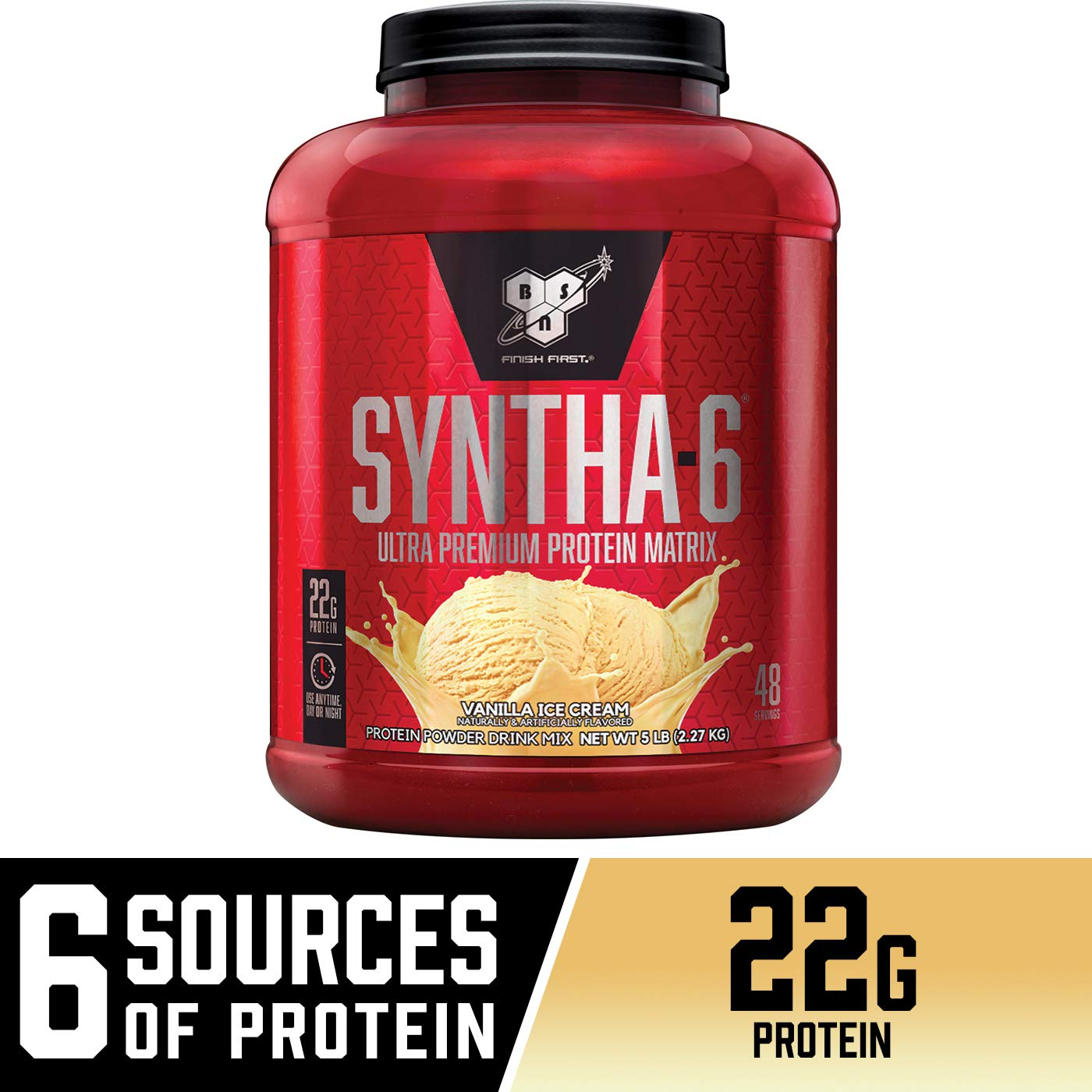BSN SYNTHA-6 Whey Protein Powder, Micellar Casein, Milk Protein Isolate Powder, Vanilla Ice Cream, 48 Servings (Package May Vary), 80 Ounce