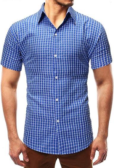 Aiserkly - Blusa de Manga Corta para Hombre, diseño Formal de ...