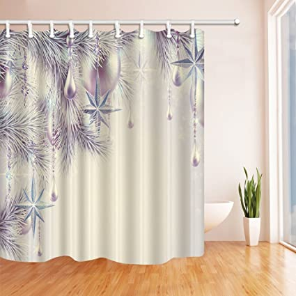 Rrfwq Christmas Shower Curtains For Bathroom Frozen Pine Needles And Accessories White Backdrop Polyester Fabric Waterproof