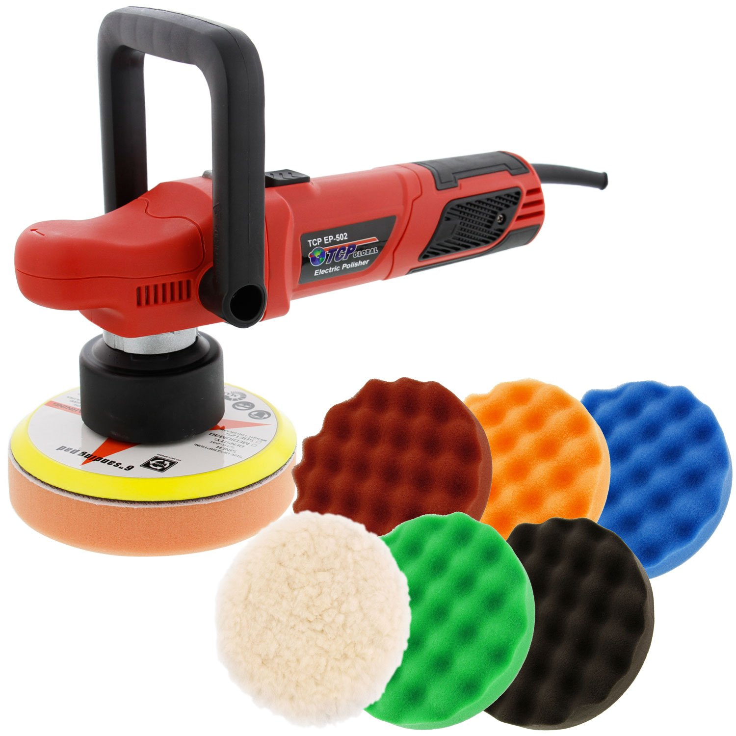 TCP Global Model EP-502-6'' Variable Speed Random Orbit Dual-Action Polisher with a 6 Pad (Waffle Foam & Wool) Professional Buffing and Polishing Kit - Buff, Polish & Detail Car Auto Paint