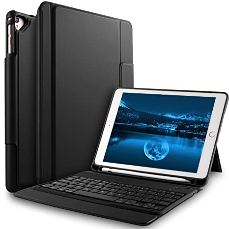 best service 13932 83c20 Bosewek Keyboard Case for New iPad 9.7 2018 - Lightweight One-Piece  Wireless Keyboard Case with Pencil Holder for Apple New iPad 9.7  2018/2017/iPad ...