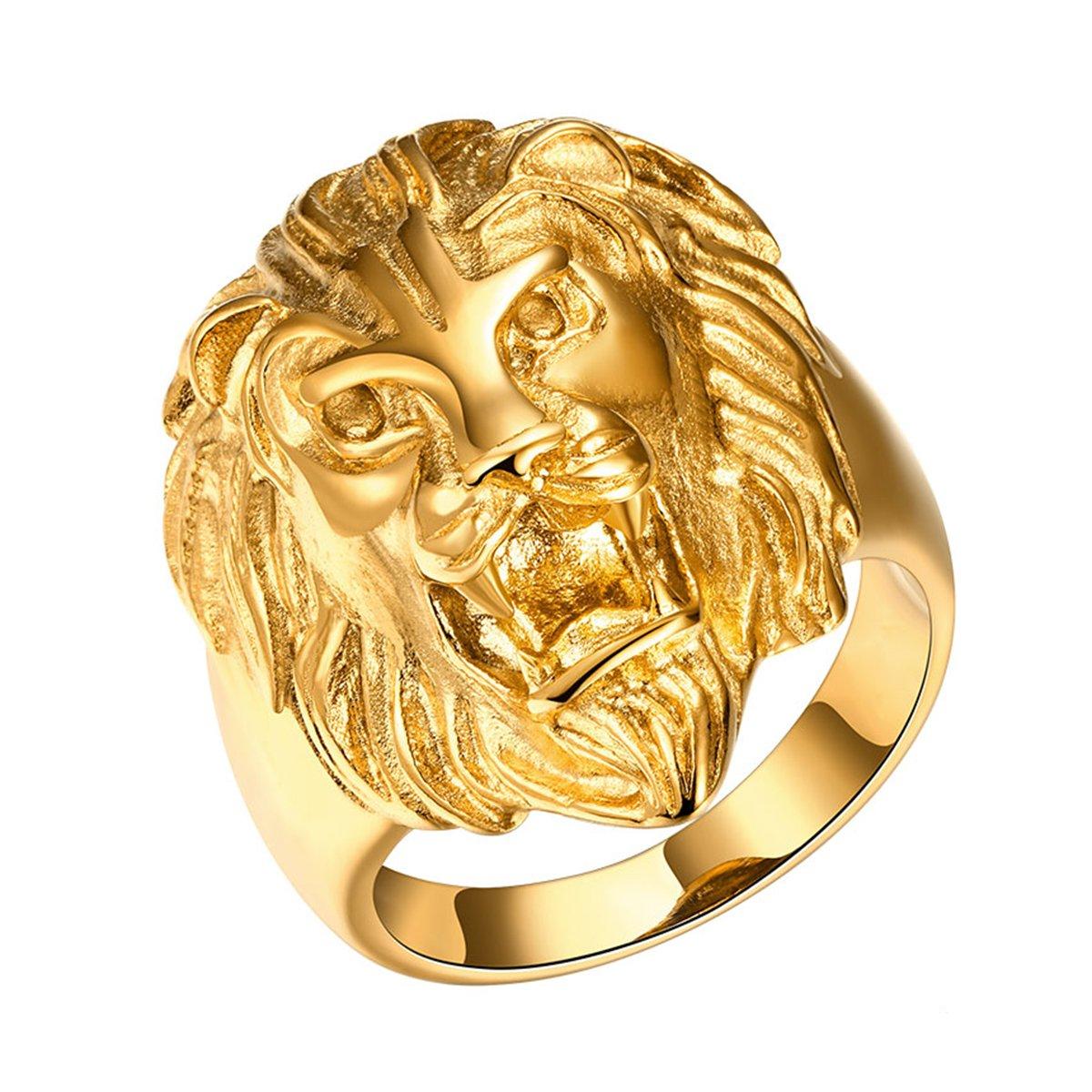 Yodensity, anello da uomo, a fascia, con testa di leone. Anello in acciaio inox, color oro colore: US 11 cod. WSD170933YYMM-34