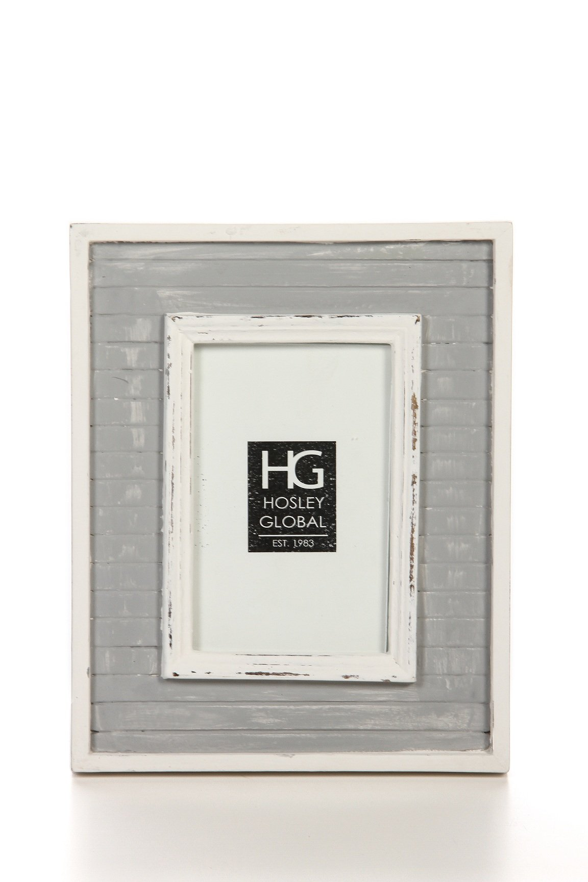 Hosley Distressed Grey Slat Board Tabletop Picture Frame, 4x6. Ideal Gift for Home, Wedding, Party. Home Office, Spa P2